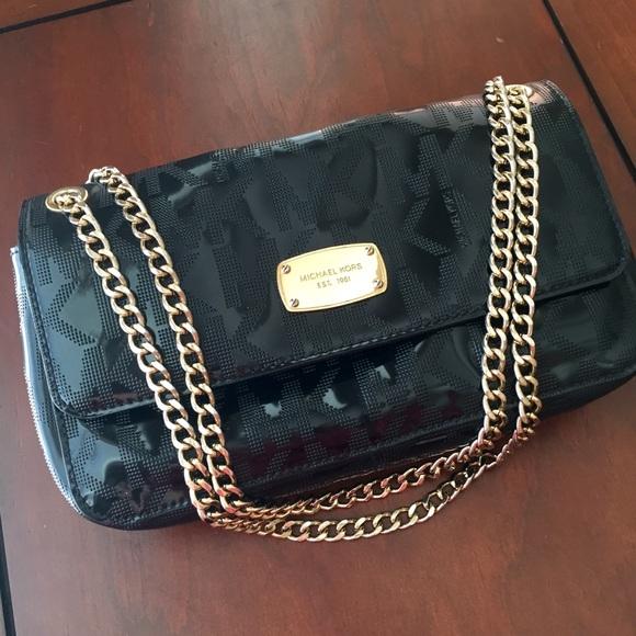 c6c89df55efa63 Michael Kors Bags | Patent Leather Bag With Gold Details | Poshmark
